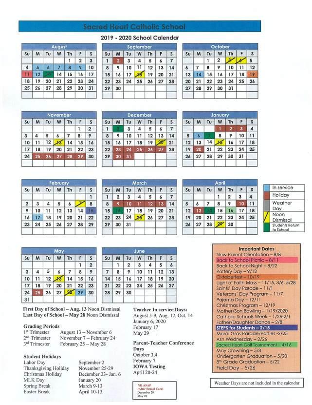 Conroe Isd Calendar 2019 2020.2019 2020 School Calendar Sacred Heart Catholic School Conroe Tx